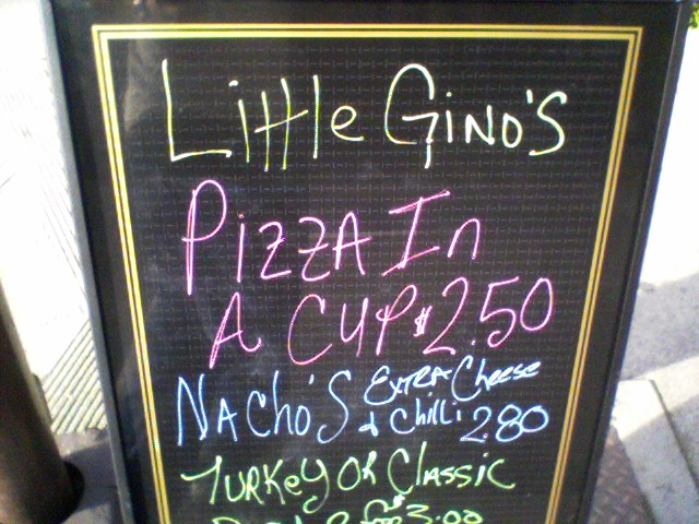 Little Gino's Pizza in a Cup sign
